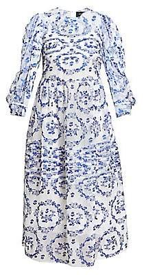 Simone Rocha Women's Pleated Puff-Sleeve Tulle Midi Dress