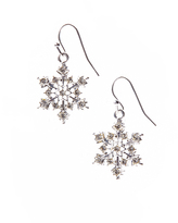 Carole Silvertone & White Snowflake Drop Earrings