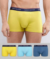 Tommy Hilfiger 3 Pack Trunks in Light/Teal Blue & Yellow