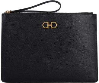 Salvatore Ferragamo Gancini Leather Clutch With Logo
