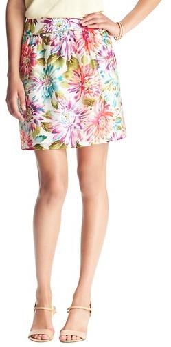 LOFT Floral Mist Print Shirred Waist Full Skirt