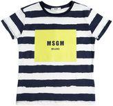 MSGM Stripes & Logo Cotton Jersey T-Shirt