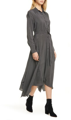 La Ligne Directional Stripe Belted Long Sleeve Silk Shirtdress