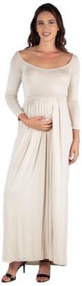 24/7 Comfort Apparel 24seven Comfort Apparel Empire Waist Long Sleeve Maternity Maxi Dress