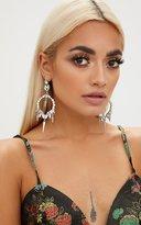 PrettyLittleThing Silver Diamante Spike Drop Earrings