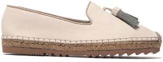 Brunello Cucinelli Bead-embellished Tasseled Leather Espadrilles