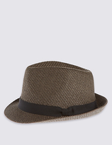 M&s Collection Double Weave Textured Trilby Hat