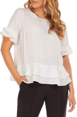 Dex Short Ruffle-Sleeve Blouse
