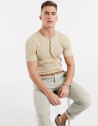 ASOS DESIGN knitted grandad polo shirt in oatmeal