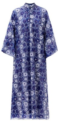 La Vie Style House - Sequinned-organza Kaftan - Blue Print