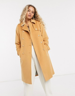 Gianni Feraud Camel boxy fit military overcoat