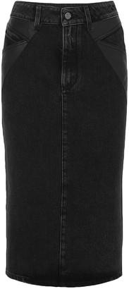 Givenchy Leather-paneled Denim Midi Skirt