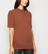 New Look Maternity Ribbed Puff Sleeve T-Shirt