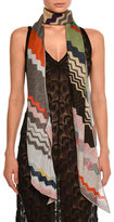 Missoni Long Asymmetric Zigzag Scarf, Multicolor