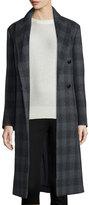 Joseph Osborne Plaid Wool-Blend Coat, Coal