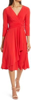 Eliza J Long Sleeve Faux Wrap Dress