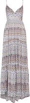 L'Agence Honore smocked printed silk maxi dress