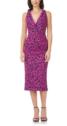JS Collections Floral Embroidery Wrap Front Sheath Midi Dress