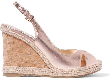 Jimmy Choo Amely 105 Metallic Leather Espadrille Wedge Sandals - Gold