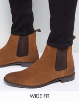 Asos Wide Fit Chelsea Boots In Tan Suede
