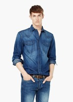 Mango Outlet Slim-Fit Dark Denim Shirt