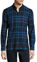Burberry Check Cotton Flannel Shirt, Bright Navy