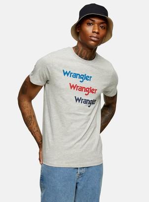 Topman WRANGLER Grey Three Logo Short Sleeve T-Shirt