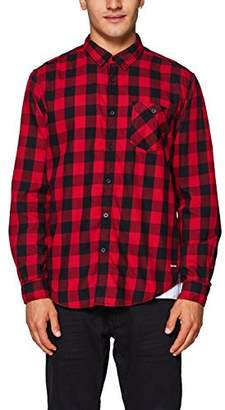 Esprit edc by Men's 088cc2f005 Casual Shirt, Dark Red 610, Large