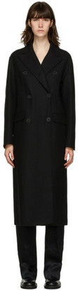 Ann Demeulemeester Black Wool and Cashmere Double-Breasted Coat