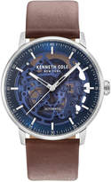 Kenneth Cole New York Men's Automatic Skeleton Brown Leather Strap Watch 42mm