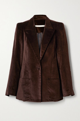 ANNA MASON Cotton-velvet Blazer - Chocolate