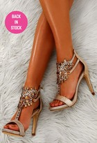 Pink Boutique Prom Queen Gold Embellished Stiletto Heels