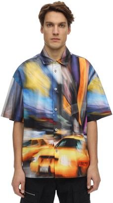 Heron Preston Print Taxi Cotton Bowling Shirt