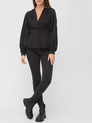 Very Button Through Back Detail Blouse - Black