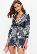 Missguided Petite Navy Paisley Print Pajama Style Wrap Dress