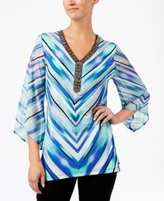 JM Collection Petite Printed Chiffon-Sleeve Top, Created for Macy's