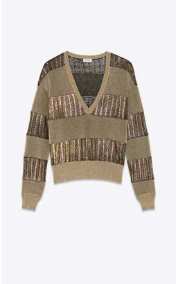 Saint Laurent Knitted V-Neck Sweater With Lame Stripe Panels