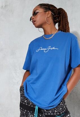 Missguided Sean John X Blue Classic Oversized T Shirt