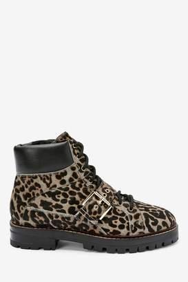 Next Womens Animal Signature Buckle Hiker Boots - Animal