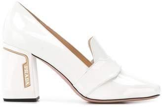 Prada block heel loafers