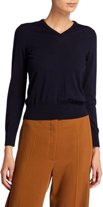 The Row Adisa Merino Wool-Cashmere V-Neck Sweater
