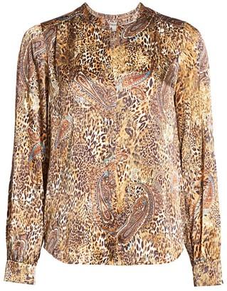 L'Agence Leopard & Paisley Print Blouse