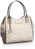 Calvin Klein Candice Lurex Logo Jacquard Center Zip Hobo Handbag Satchel