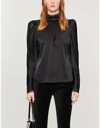 Frame High-neck lace-trimmed silk-satin blouse