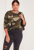 Missguided Plus Size Camo Sweatshirt Khaki