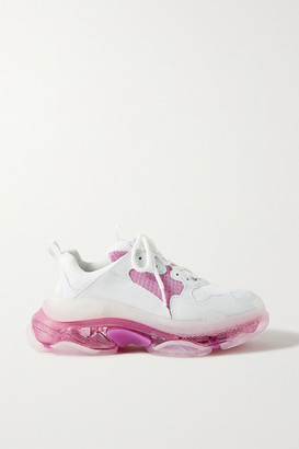 Balenciaga Triple S Clear Sole Logo-embroidered Leather And Mesh Sneakers - White