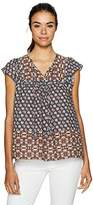 NYDJ Women's Mixed Border Print Blouse