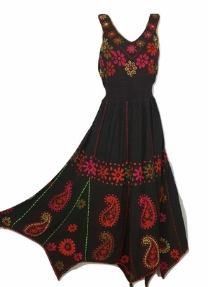 Doorwaytofashion Batik Handkerchief Hem Fit and Flare Hand Embroidered Dress Mirror Work (Black Red)