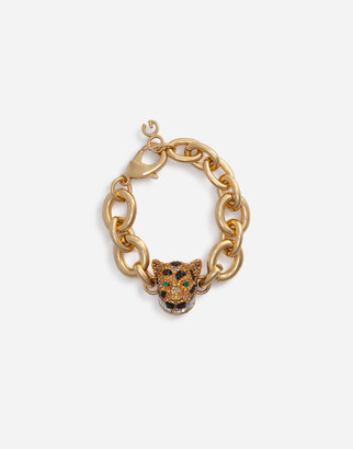 Dolce & Gabbana Chain Bracelet With Decorative Leopard In Crystal Pave