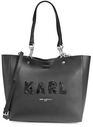 Karl Lagerfeld Paris Embellished Logo Leather Tote